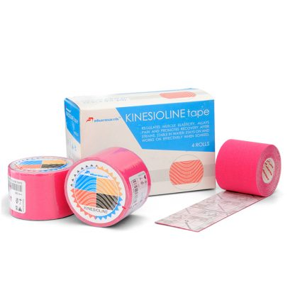 кинезио розовый коробка и 3 рулона 5м Pharmacels® KINETICLINE Tape
